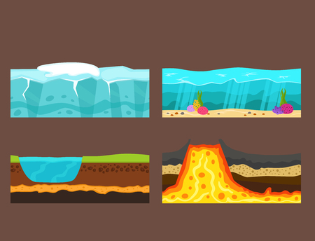 Illustration des Querschnitts des Bodens des Bodenvulkanlandes im Freien schneidet Vektor der Scheibenlandstück-Natur Natur. Standard-Bild - 88024303
