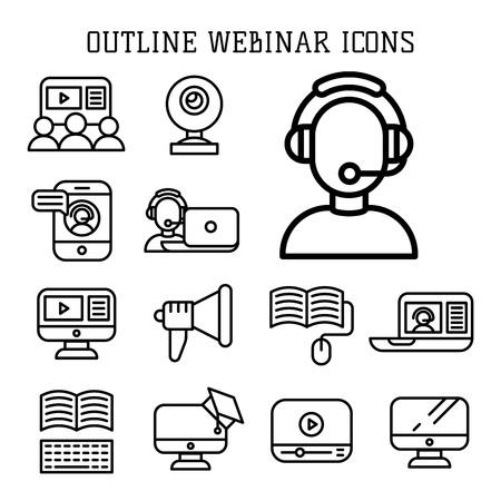 Set of webinar icons flat vector illustration Illustration