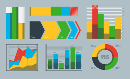 Design diagram chart elements vector illustration of business flow sheet graph infographics data template. Presentation information arrow progress diagrammatic report.