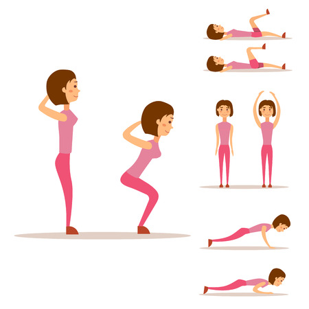 Young woman is exercising at home fitness character workout healthy living and diet concept vector illustration. Illustration