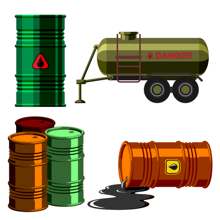 bowels: Stack different oil drums fuel container liquid cask storage object. Rows of steel barrels capacity tanks. Natural metal old oil bowels chemical vessel vector set.