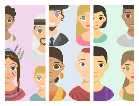 affiliation: Cool avatars different brochure nations people portraits ethnicity different skin tones ethnic affiliation and hair styles vector illustration.
