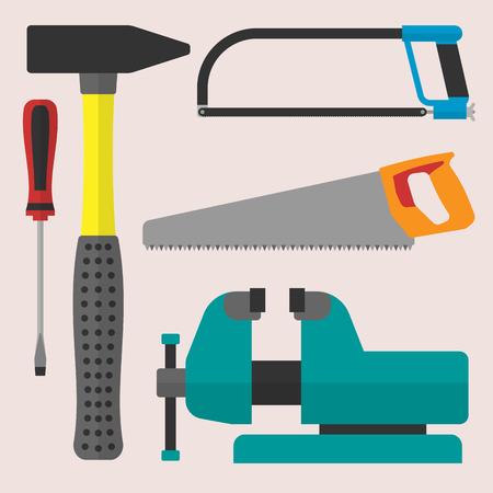 Vector varias herramientas de casa de construcción de iconos de equipo de reparación de casa de diseño plano de color.