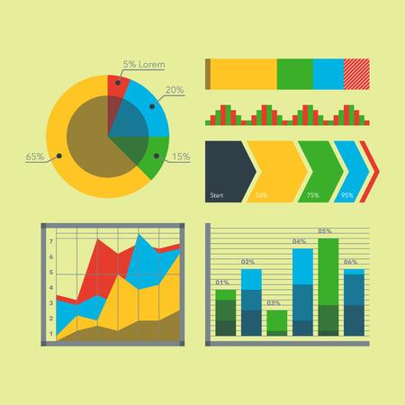 Design diagram chart elements vector illustration of business flow sheet graph infographics data template Illustration