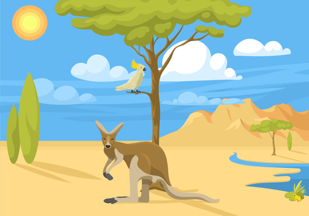 Australia wild background landscape animals cartoon popular nature flat style australian native forest vector illustration. Natural vacation wilderness peaceful environment.