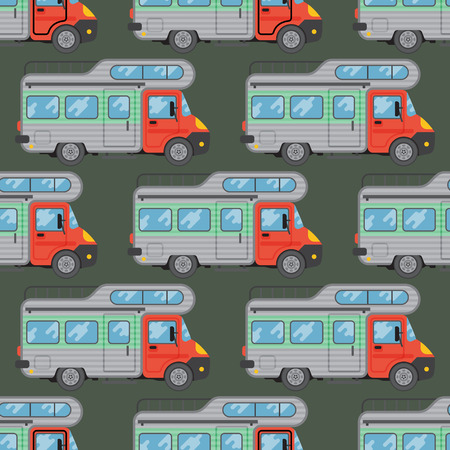 Campers vacation travel car summer nature seamless pattern holiday trailer house vector illustration flat transport. Classic caravan campsite automobile retro minivan camp vintage bus.