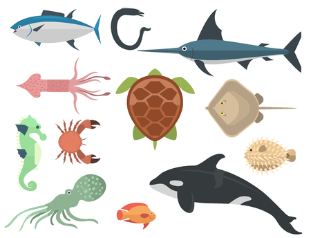 Vector set of cute sea animals characters.