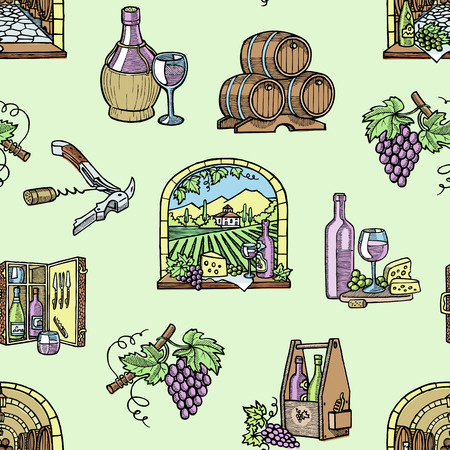 Winery wine production cellar wine-cellar viticulture winey product alcohol farm grape vintage hand drawn vector illustration. Agriculture storage fermentation seamless pattern background