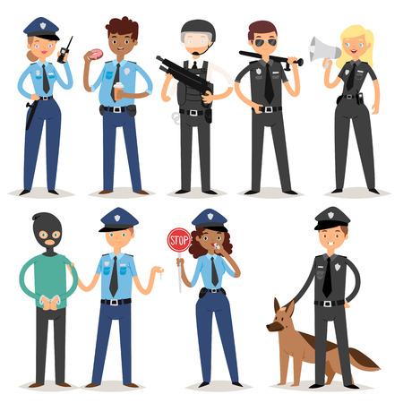 警官文字面白い漫画男人制服警官立って人セキュリティ ベクトル図です。アメリカのプロ犯罪職業安全作業。
