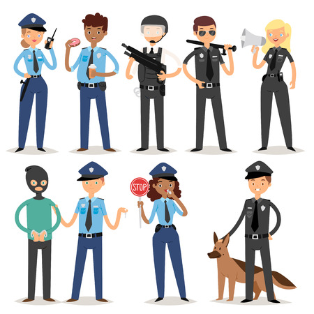 Policeman characters funny cartoon man person uniform cop standing people security vector illustration. American professional crime occupation safety work.