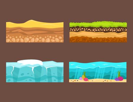 地面農業国園芸地面の断面図は、土地部分自然屋外ベクトルをスライスします。