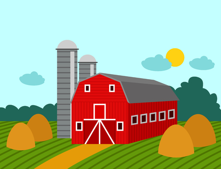 Farm building rural agriculture farmland nature countryside farming architecture background vector illustration