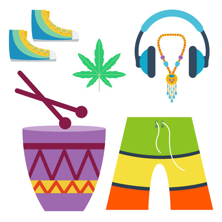 Rastafarian cannabis peace ganja icons set in flat style marijuana smoking equipment vector illustration Illustration