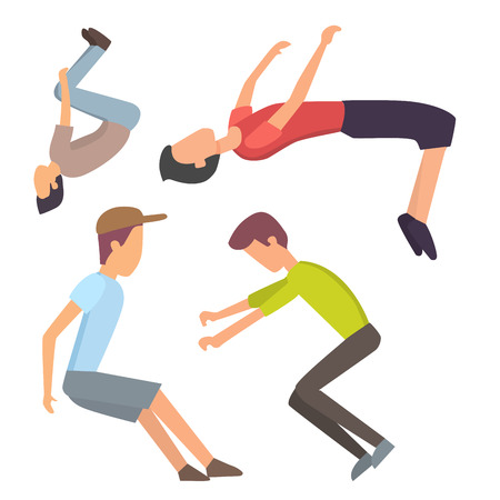 Fitness sport parkour people concept young person jumping extreme running danger gymnastics exercising vector illustration