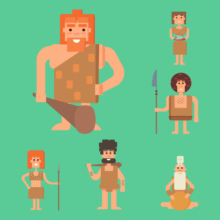 mankind: Caveman primitive stone age cartoon neanderthal people character evolution vector illustration.