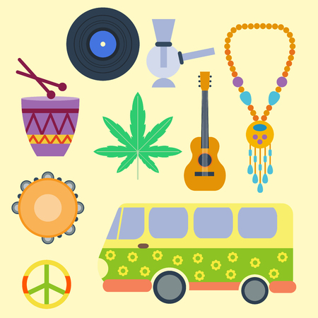peace pipe: Rastafarian cannabis peace ganja icons set in flat style marijuana smoking equipment vector illustration Illustration