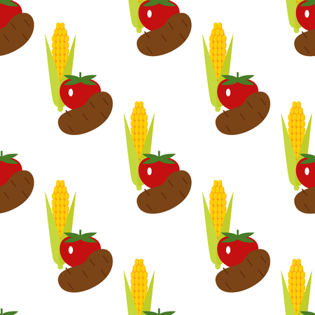 Corn, potato and tomato vector seamless pattern background illustration. Harvest time yield crop