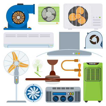 Ventilation system air condition ventilators equipment conditioning climate fan technology temperature coolers vector illustration