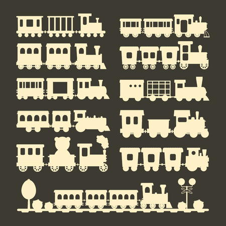 Game gift kids train silhouette vector travel railroad transportation toy locomotive illustration.
