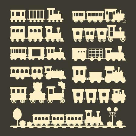 Game gift kids train silhouette vector travel railroad transportation toy locomotive illustration.