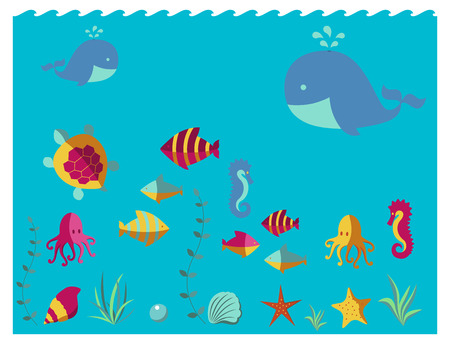 Nautical animal elements wave ocean sea blue marine vector illustration. Illustration