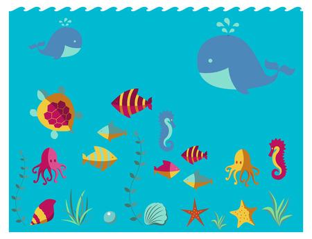 star fish: Nautical animal elements wave ocean sea blue marine vector illustration. Illustration