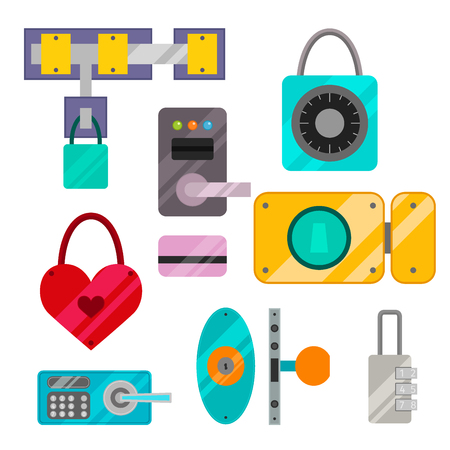 door lock love: Different house door lock icons set vector safety password privacy element with key and padlock, protection security keyhole vector illustration. Illustration