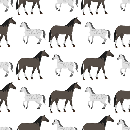 Set of horse pony stallion seamless pattern breeds color farm equestrian animal characters vector illustration. Mammal silhouette domestic animal cartoon pet design. Ilustração