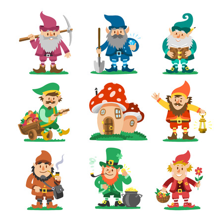 Fairy-tale fantastic gnome dwarf elf character poses magical leprechaun cute fairy tale man vector illustration