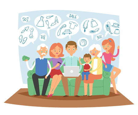 Family together dreaming online shopping sales goods sitting on sofa using laptop dreaming about new home vector illustration