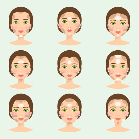 Set of different woman face types vector illustration character shapes girl makeup beautiful female Illustration