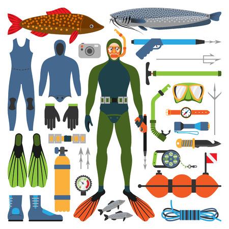 水中狩猟やハンター男は銃を持つ文字他釣り仕掛けデバイス武器のベクトル図です。