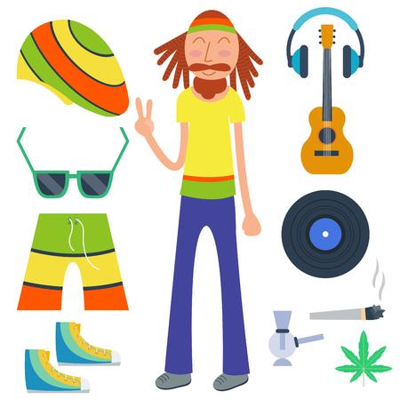 rasta hat: Rastafarian cannabis peace ganja icons set in flat style marijuana smoking equipment vector illustration Illustration
