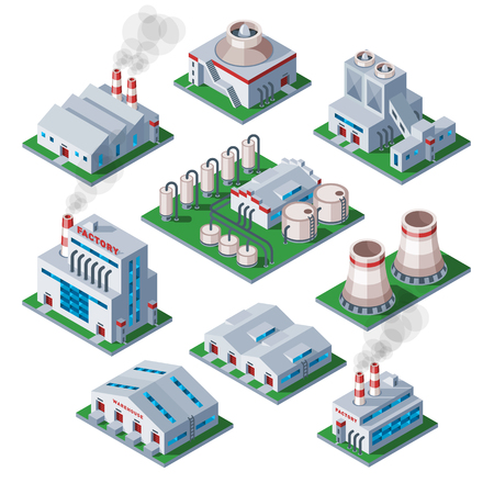 Isometric 3d factory building vector icon industrial element warehouse symbol. Architecture house exterior cityscape construction. Stock Illustratie