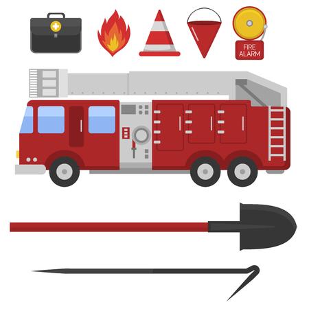 extinguishing: Fire safety equipment emergency tools firefighter safe danger accident protection vector illustration. Illustration
