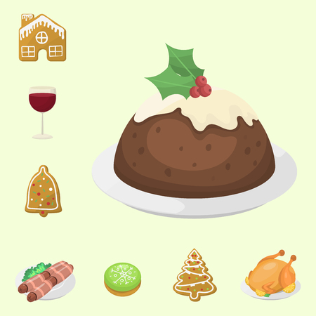 Traditional christmas food and desserts holiday decoration xmas sweet celebration meal vector illustration. Illustration