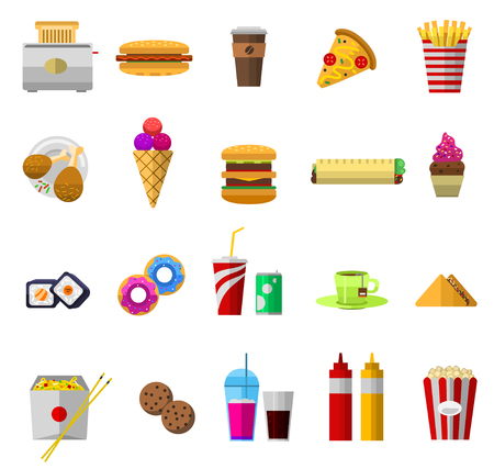 Vector icons sweet fast food elements. Stok Fotoğraf - 88293331