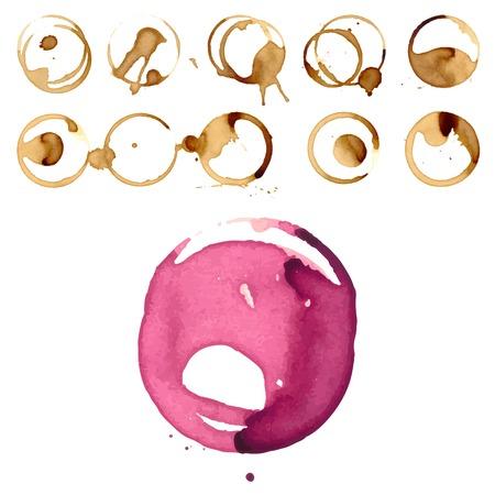 Wine and coffee staiin spots splashes cup vector isolated splash vector illustration Illustration