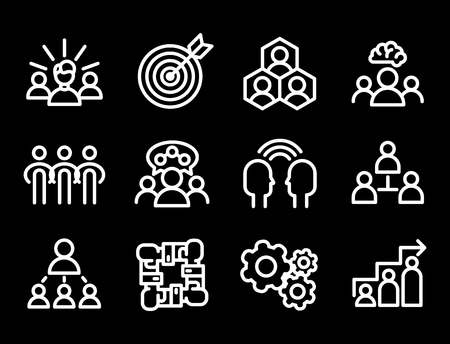 Vector illustration business team building people concept teambuilding work management outline trainings icons.