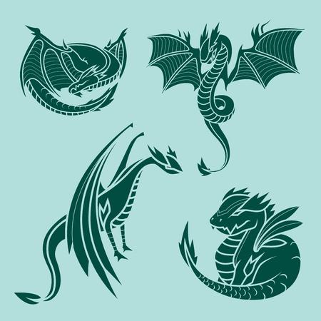 Chinese draak silhouetten tattoo mythologie staart monster magisch pictogram Aziatische dieren kunst vector illustratie.