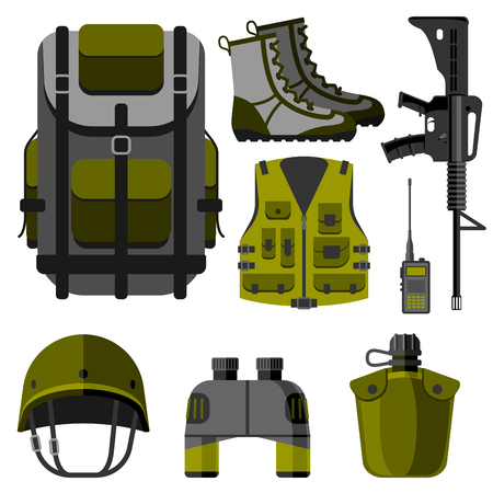 Military weapon guns armor forces design and american fighter ammunition navy camouflage vector illustration. Illustration