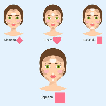 Set of different women face types vector illustration