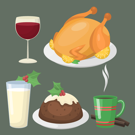 Traditional Christmas food and desserts vector illustration. Illustration