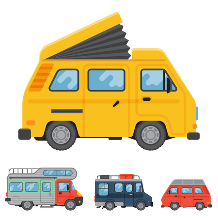 camper: Campers vacation travel car summer nature holiday trailer house vector illustration flat transport