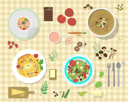 Different plates with pasta bolognese and spaghetti lunch dinner tomato salad collage vector illustration.