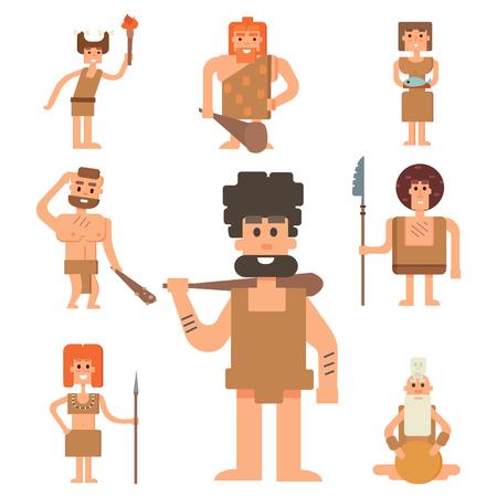 neanderthal women: Caveman primitive stone age cartoon neanderthal people character evolution vector illustration.