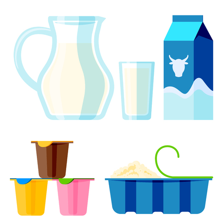 Dairy milk products organic drink bottle healthy yogurt cream nutrition farm calcium breakfast vector illustration.