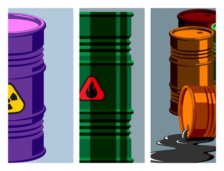 Oil drums container fuel cask storage rows steel barrels capacity tanks card metal old bowels chemical brochure vector illustration Illustration