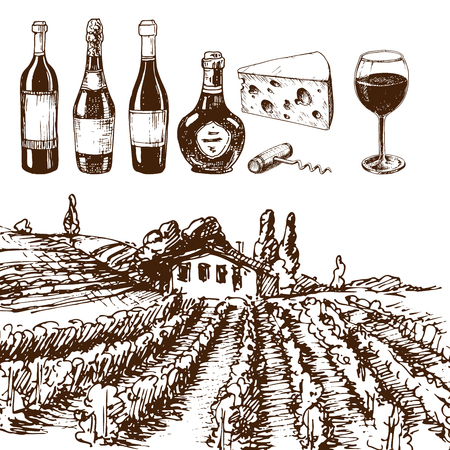 winemaking: Vintage winery wine production handmade draft winemaking sketch fermentation grape drink vector illustration
