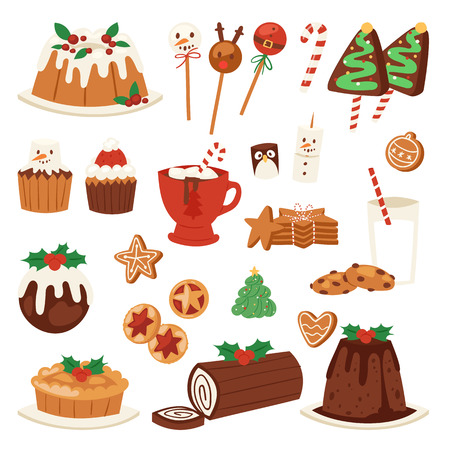 Christmas food vector desserts holiday decoration for family diner sweet celebration meal illustration. Traditional festive winter cake homemade party
